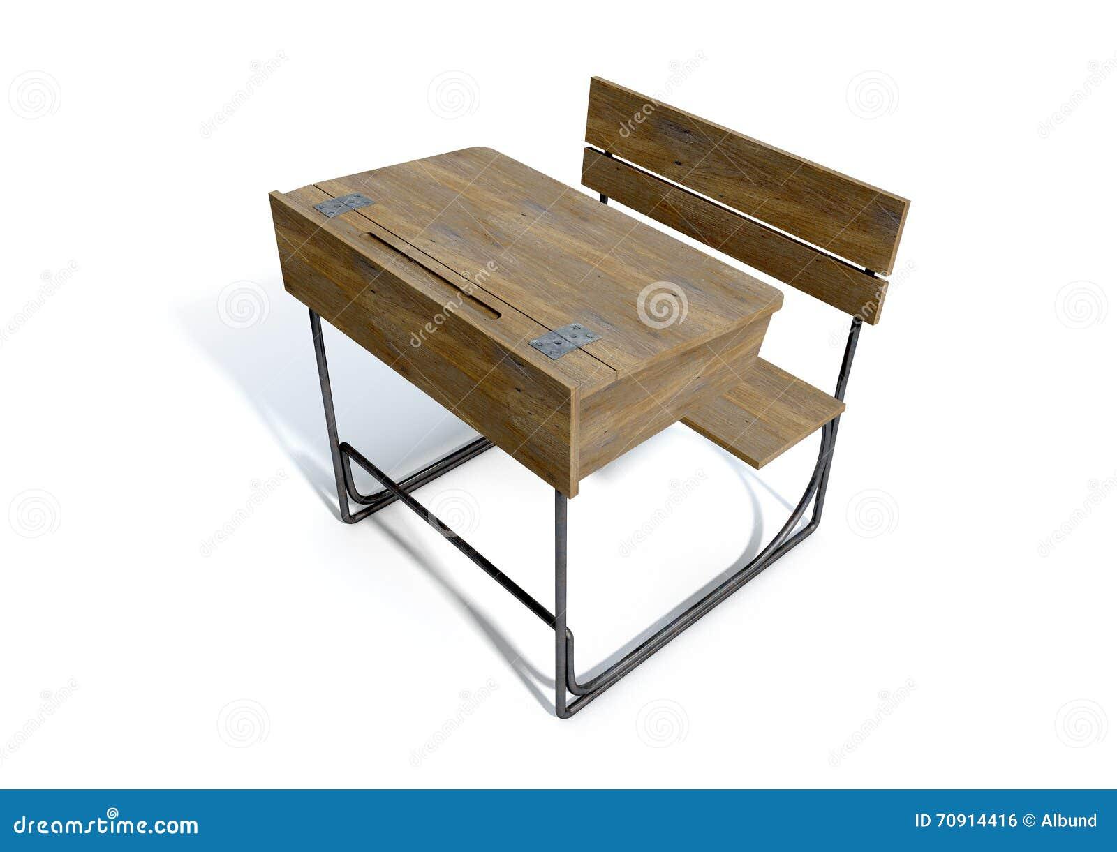Bureau en bois d école de vintage photo stock image du studio