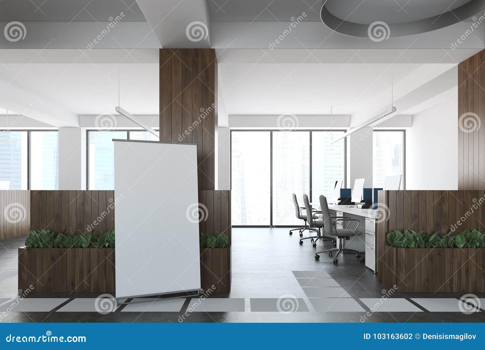 Bureau en bois et blanc de lespace ouvert affiche illustration