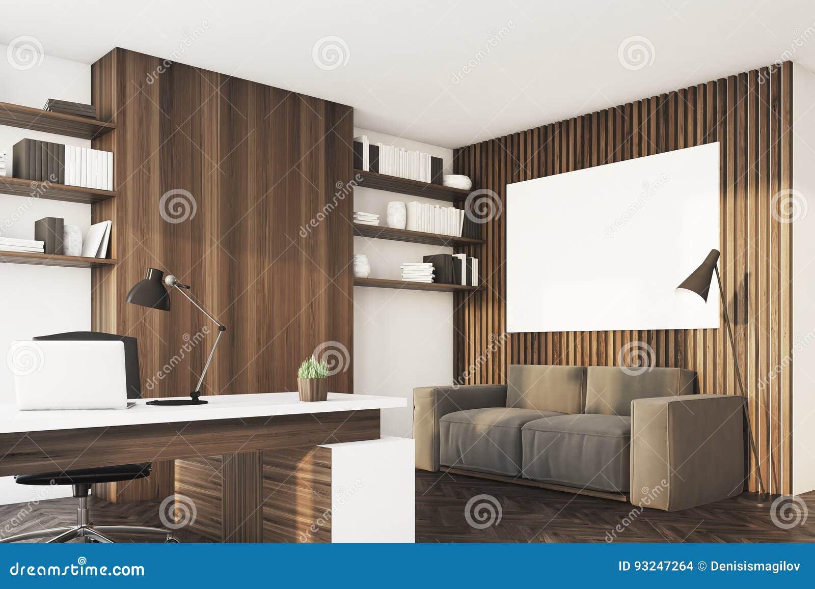 Bureau en bois foncé coin illustration stock. illustration du