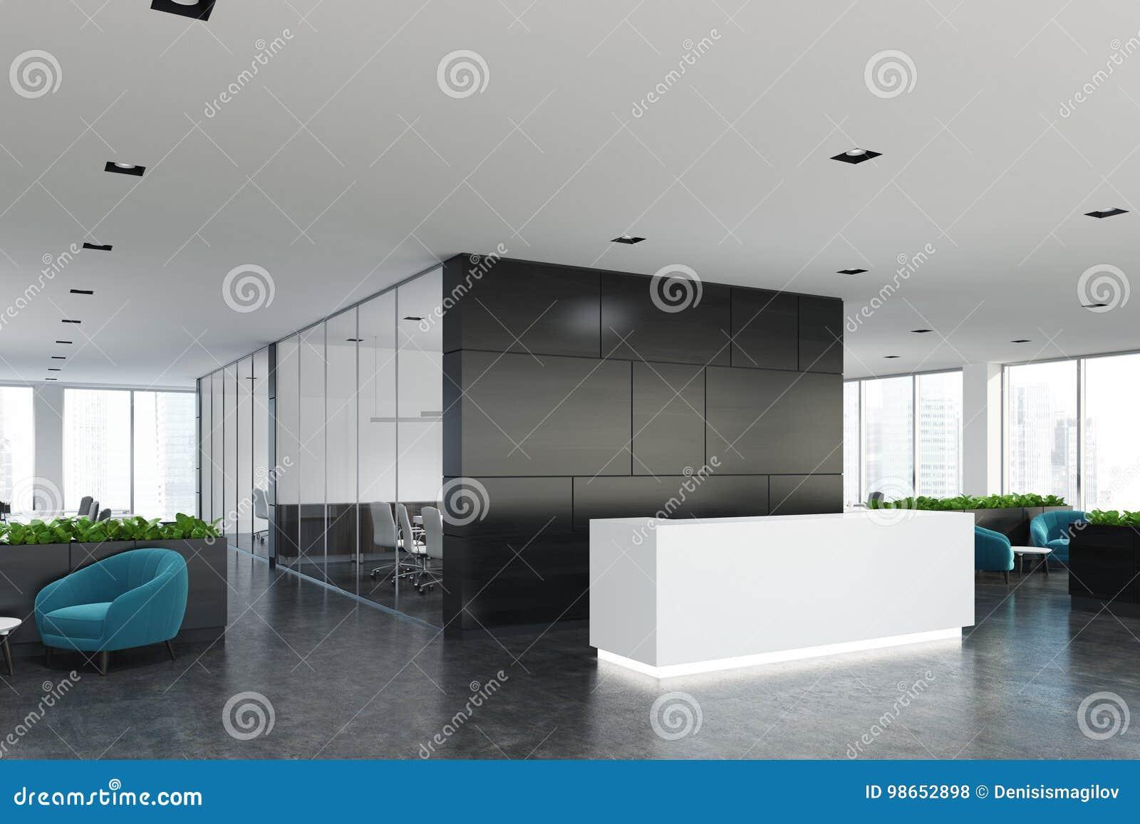 Bureau en bois noir réception blanche côté illustration stock