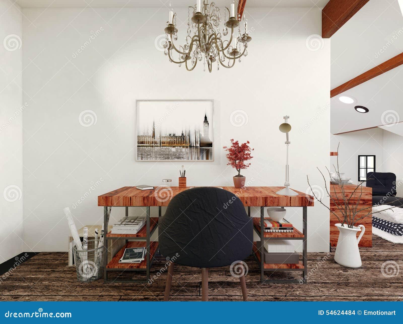 Bureau en stoel met kroonluchter in modern huis stock illustratie