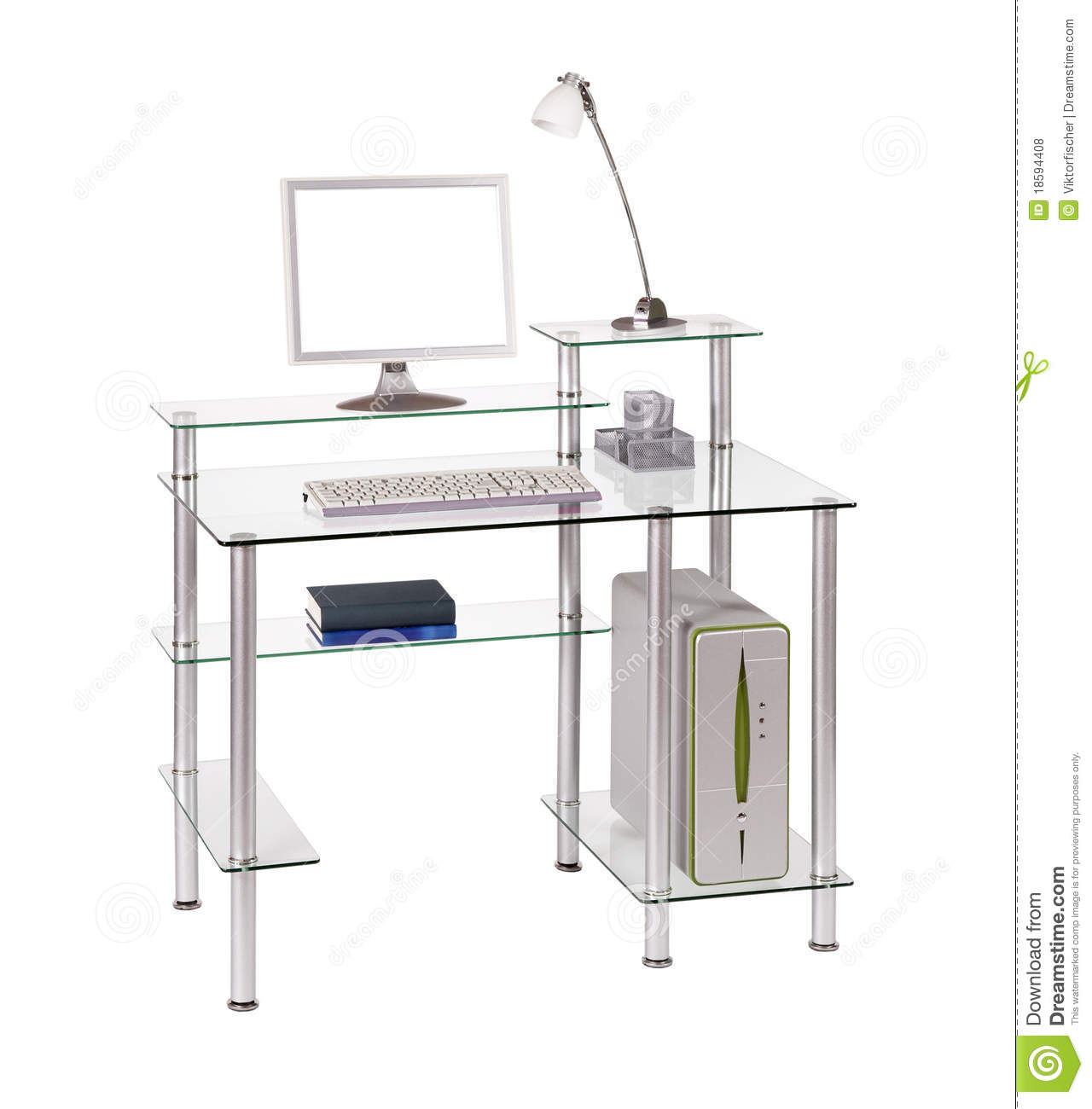 Bureau en verre d 39 ordinateur photos libres de droits image 18594408 - Table d ordinateur en verre ...