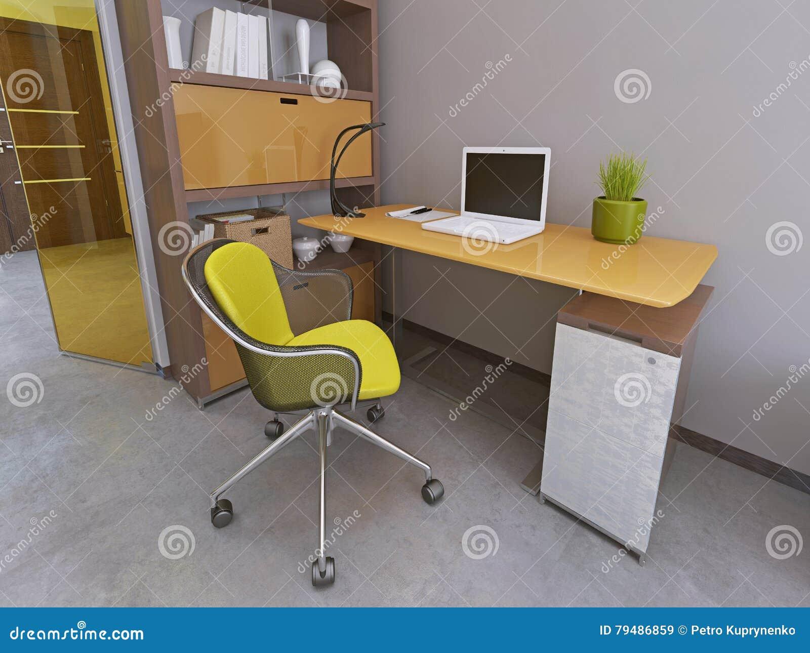 Bureau et chaise dans le salon moderne illustration stock