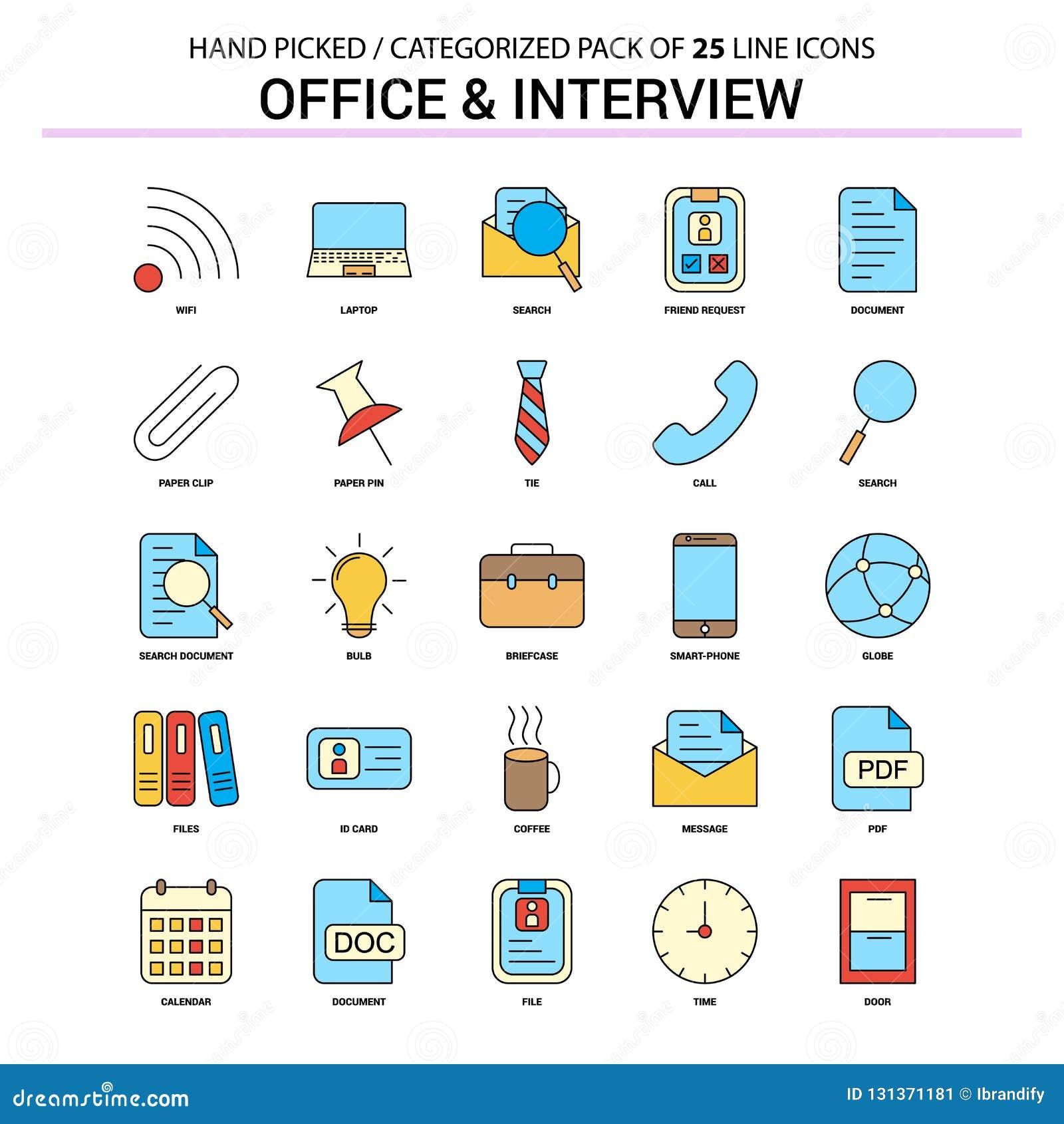 Bureau et ligne plate ensemble d icône - icônes d entrevue de concept d affaires