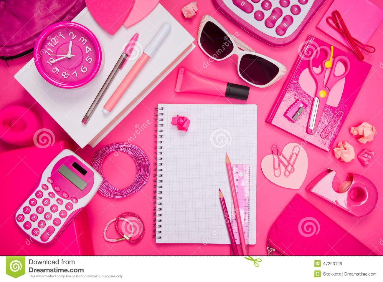 Bureau et papeterie roses girly photo stock image 47293126 for Papeterie bureau plus