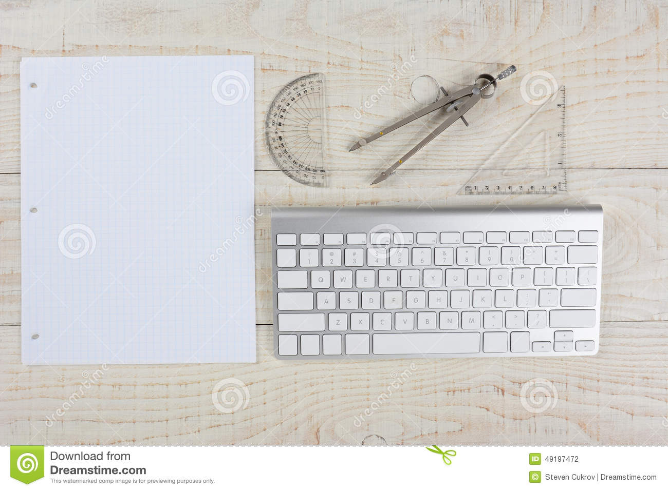 Bureau et papier de graphique blancs photo stock image du blanc