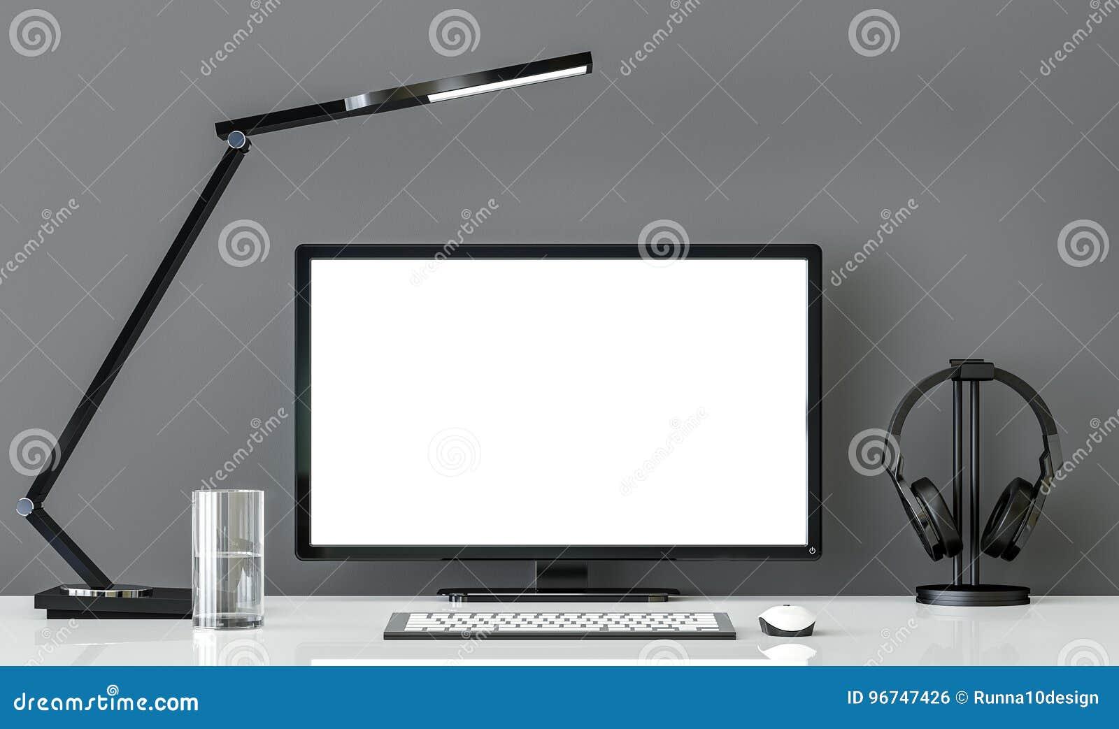 Bureau Noir Et Blanc bureau fonctionnant noir et blanc de style minimal avec l