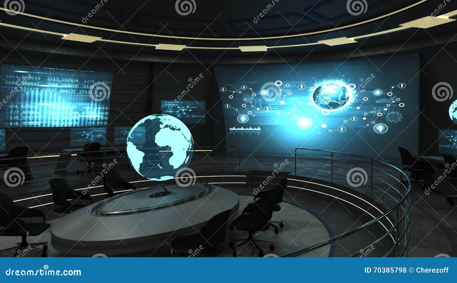 Bureau futuriste avec les crans olographes photo stock for Bureau futuriste