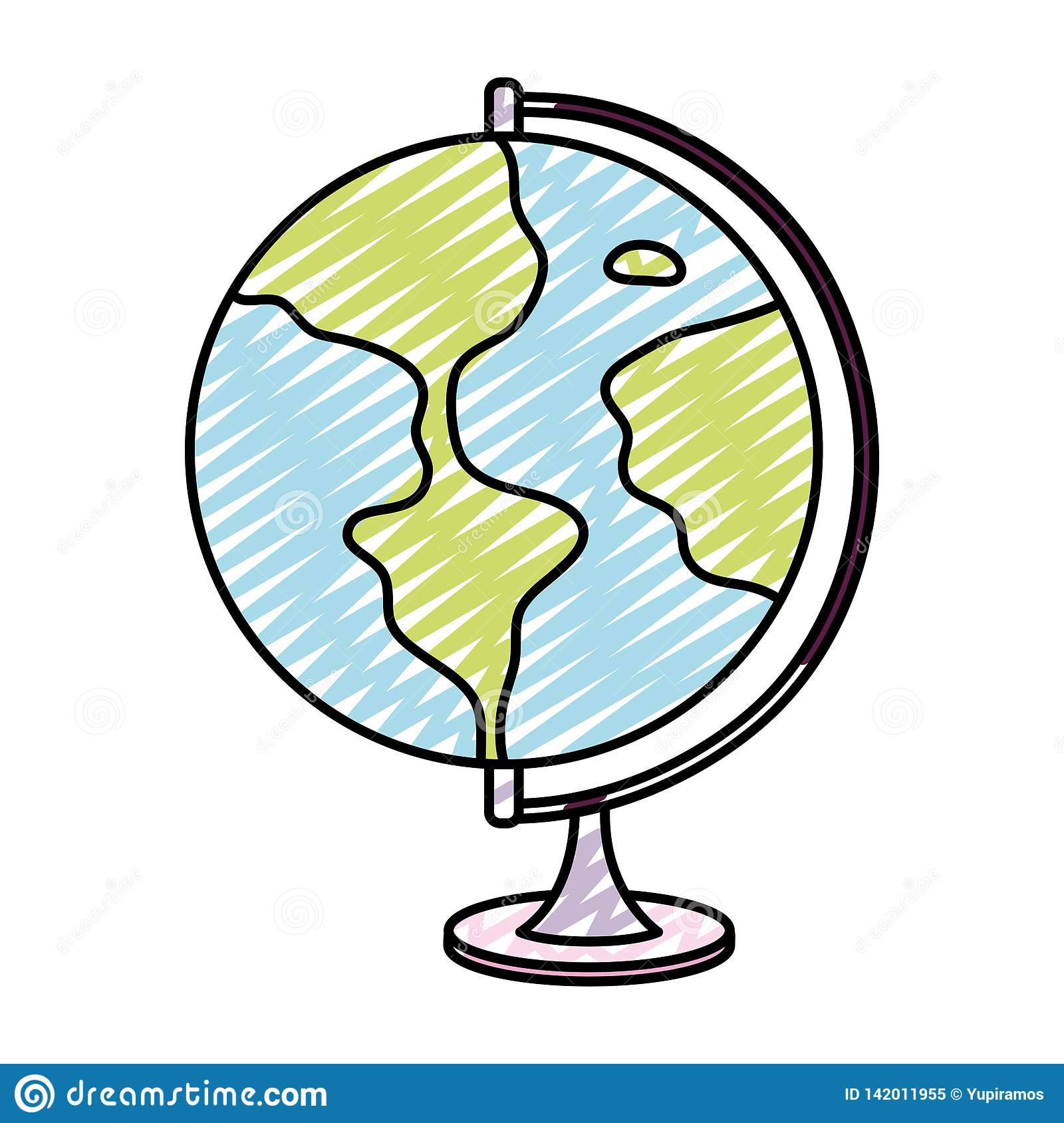 Bureau global de carte de planète de la terre de griffonnage