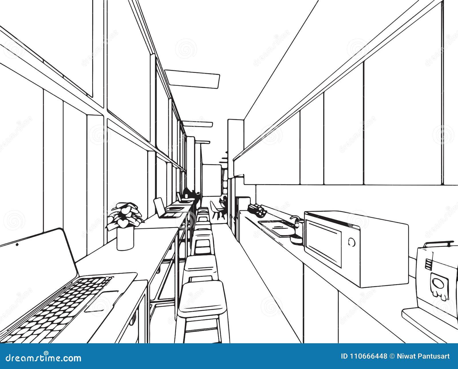 Desin D Interieur En Perspective Avec 1 Point De Fuite : Bureau intérieur de perspective dessin croquis d