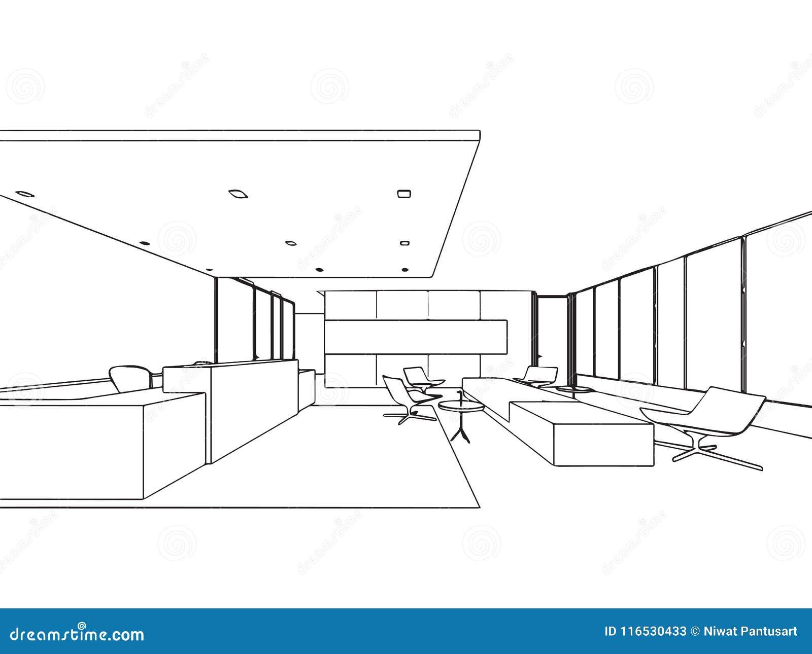 Bureau Isometrique Interieur De Perspective De Dessin De Croquis D