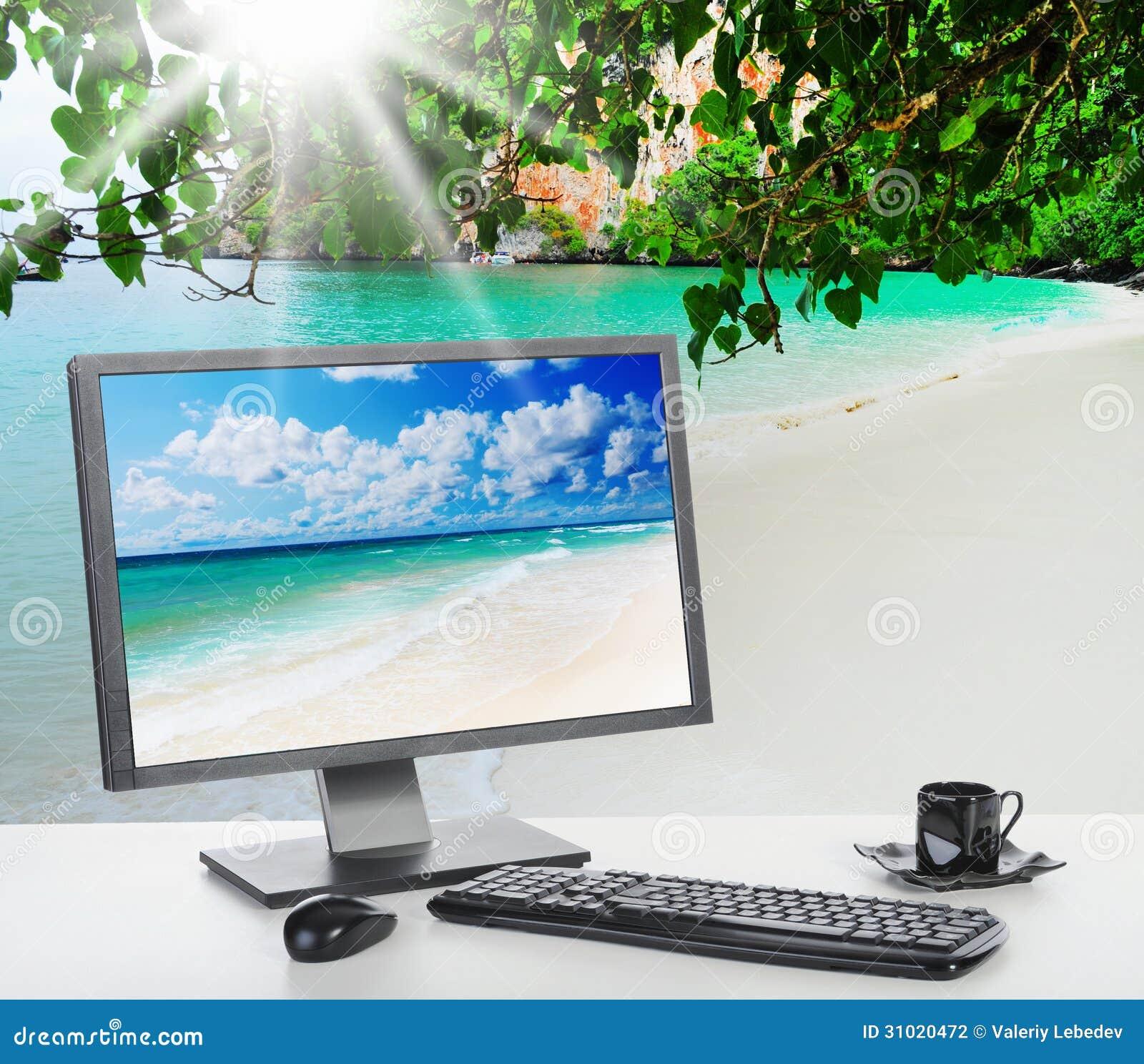 bureau lumineux ensoleill sur la plage photographie stock image 31020472. Black Bedroom Furniture Sets. Home Design Ideas