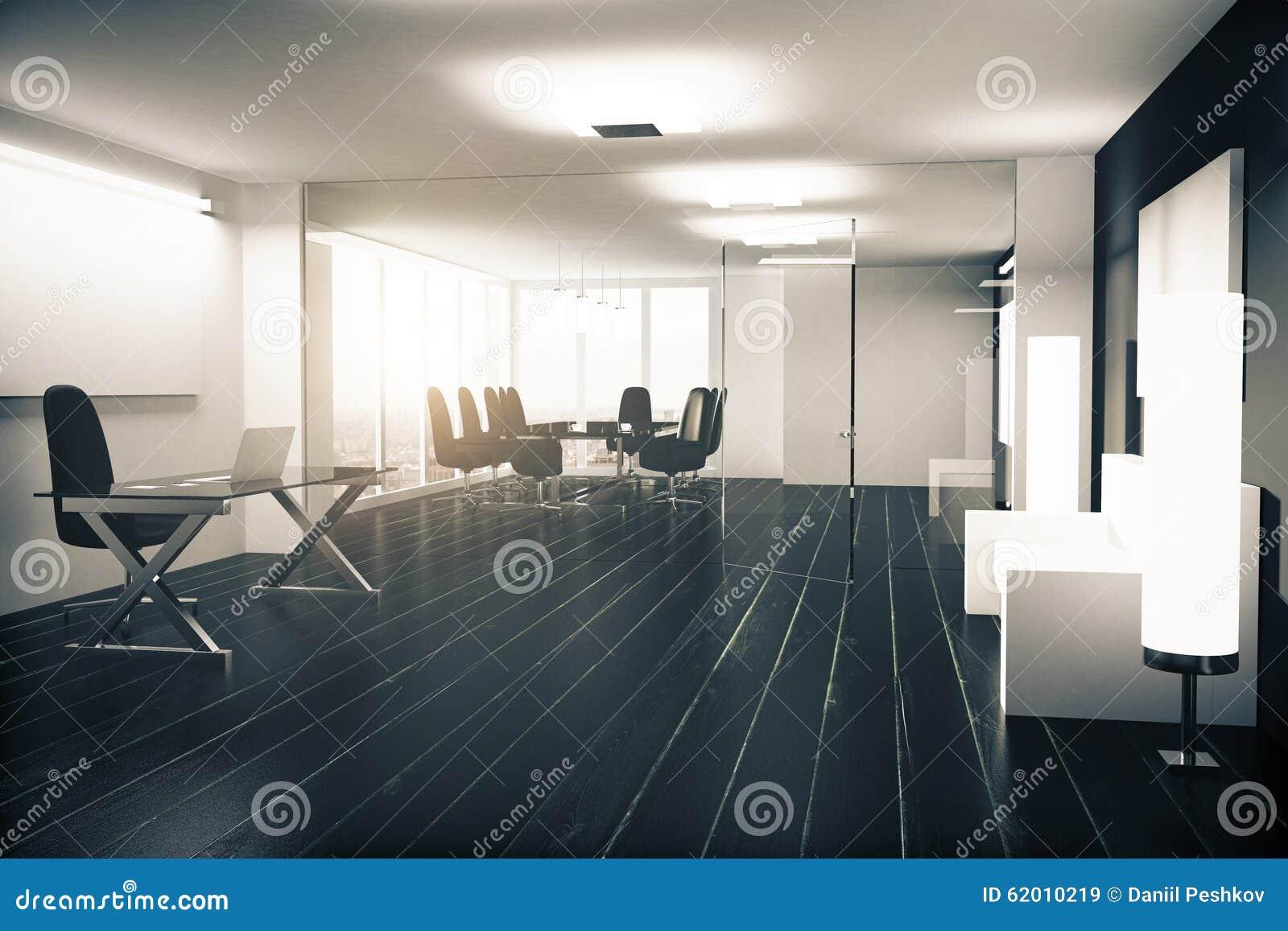 Bureau moderne avec des meubles des murs vitreux et la floride en