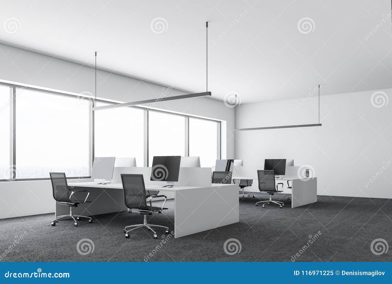 Bureau moderne blanc de société vue de côté dordinateurs