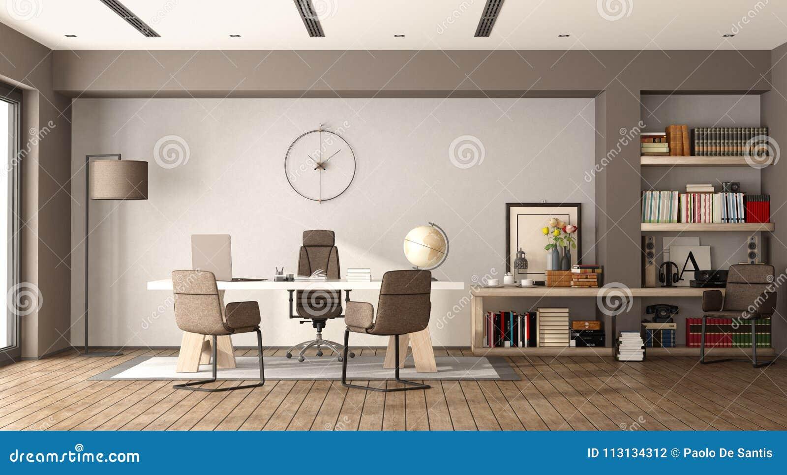 Bureau moderne blanc et brun illustration stock illustration du