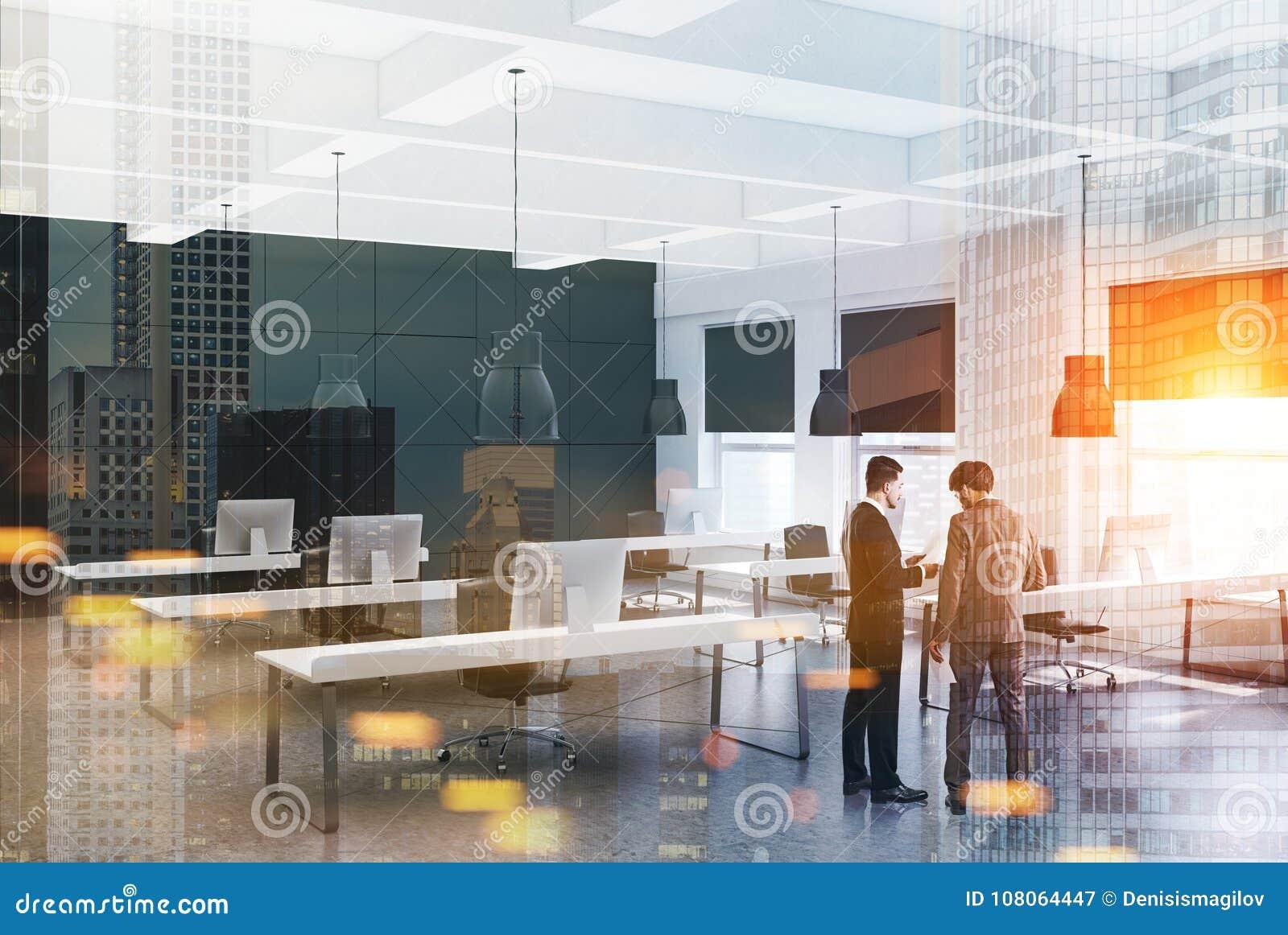 Bureau moderne blanc et noir gens d affaires image stock image