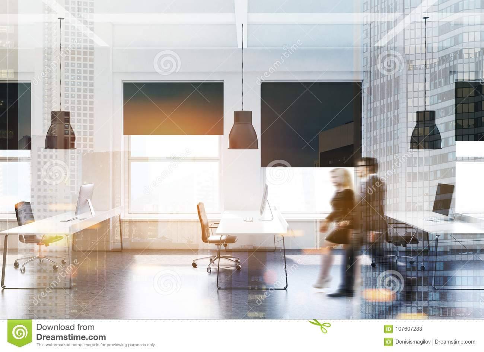Bureau moderne blanc gens daffaires de côté image stock image du