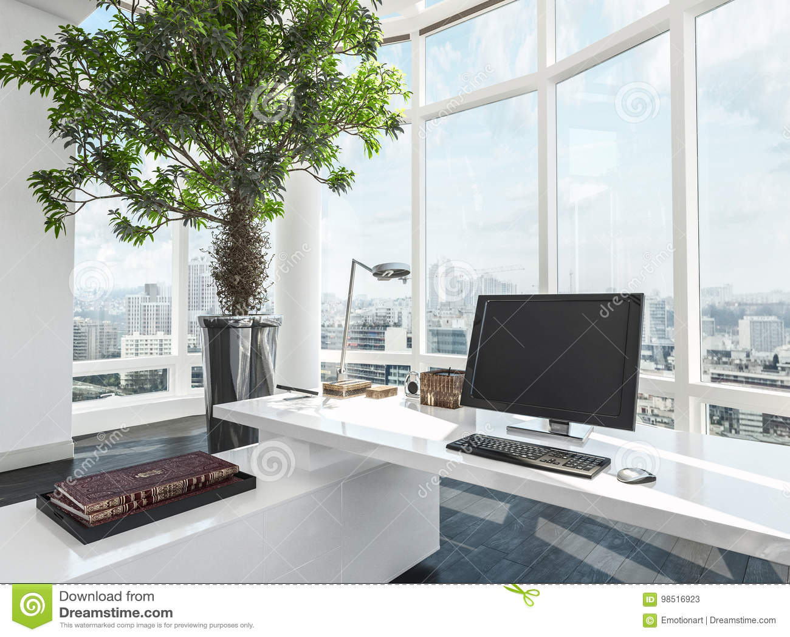 Bureau moderne de luxe donnant sur une ville illustration stock