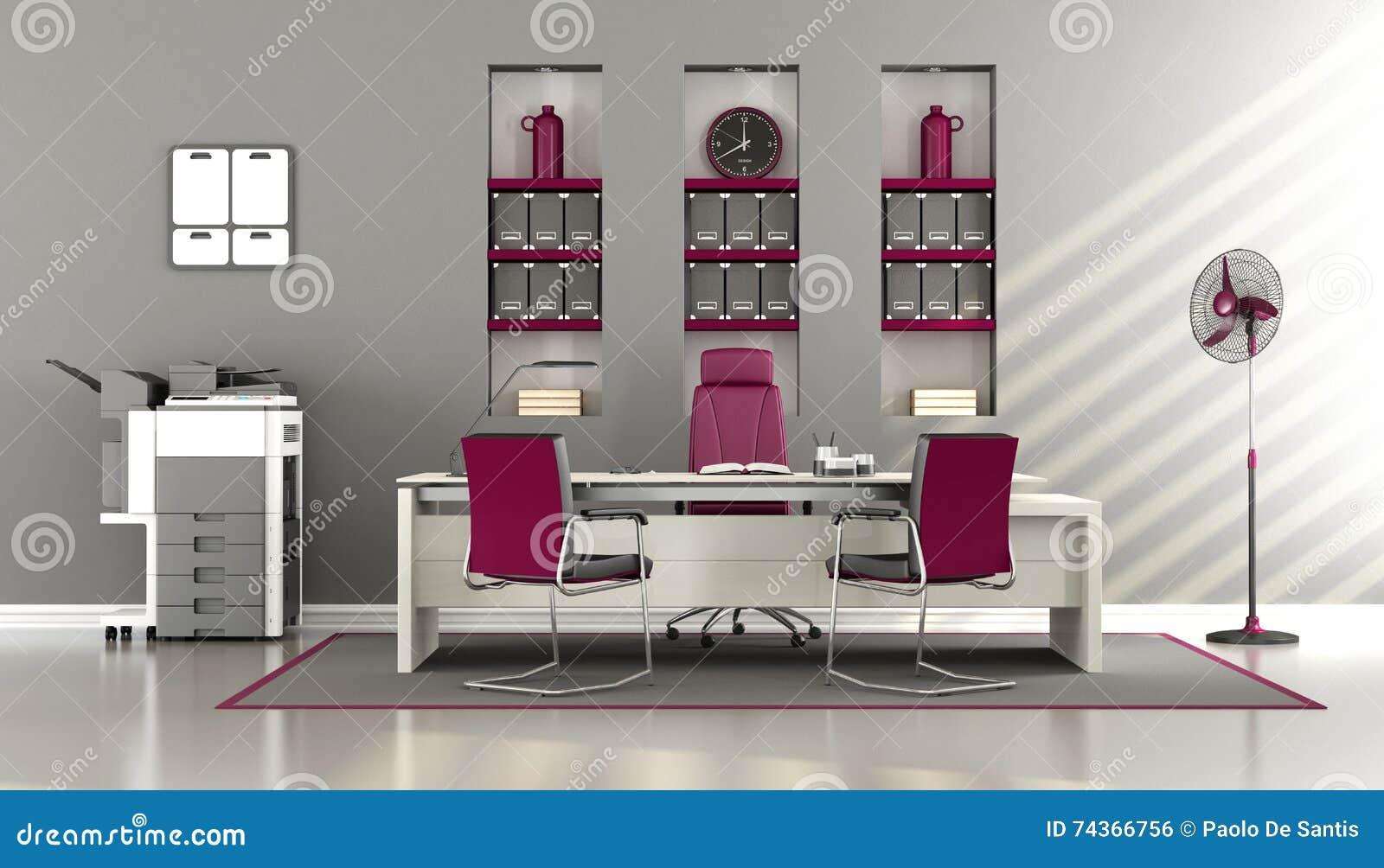 Bureau moderne gris et pourpre illustration stock illustration