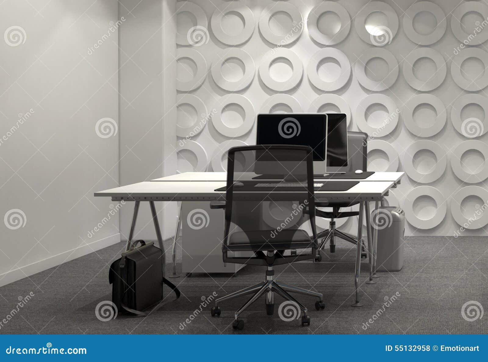 Bureaux Bureau Faire Face À Des Moderne Illustration Meublé Avec nw8XOPk0