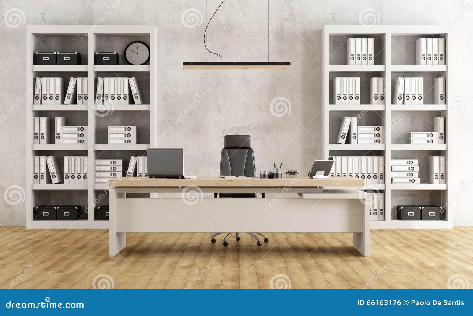 Bureau moderne noir et blanc illustration stock illustration du