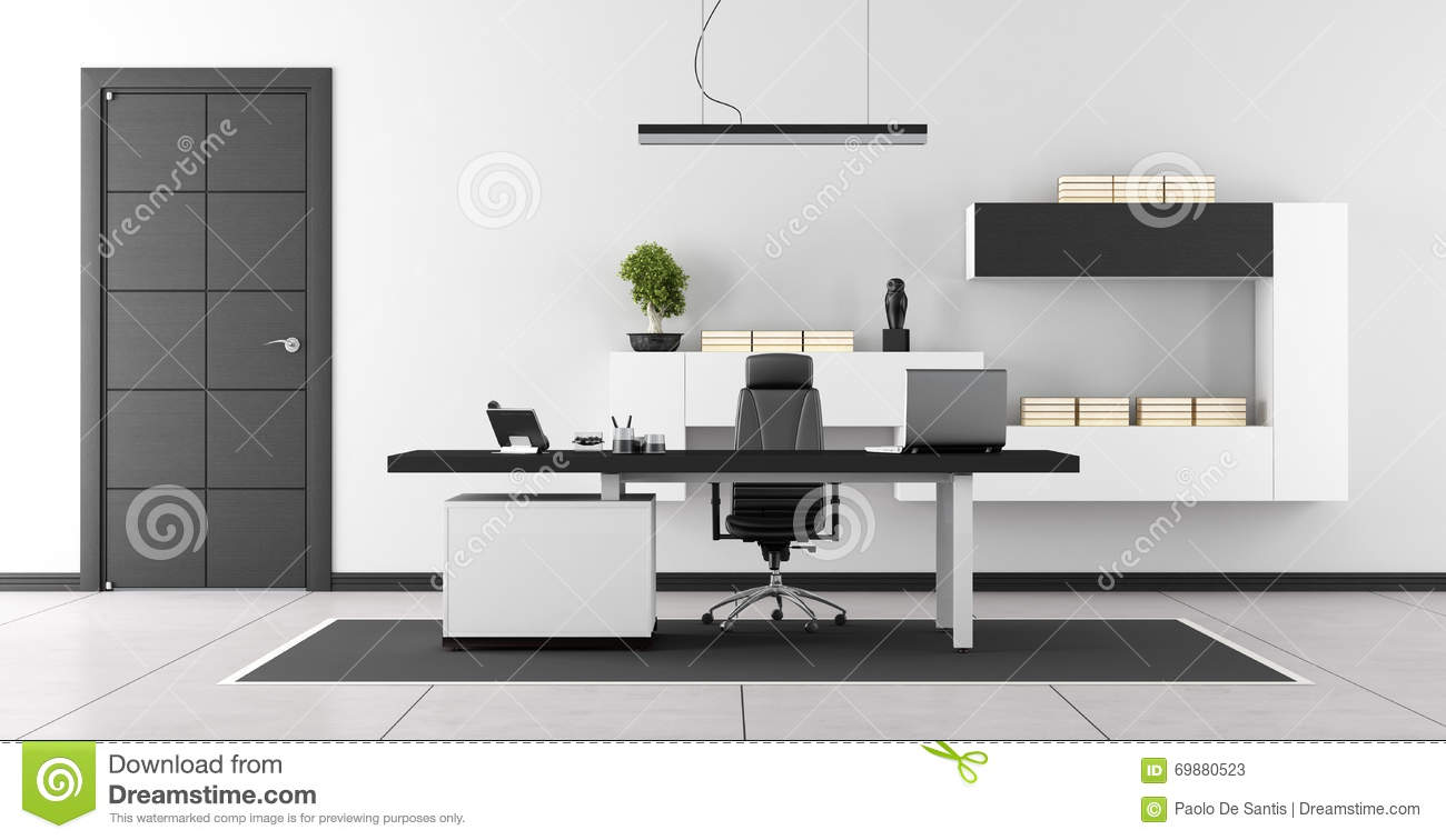 bureau moderne noir et blanc illustration stock image. Black Bedroom Furniture Sets. Home Design Ideas