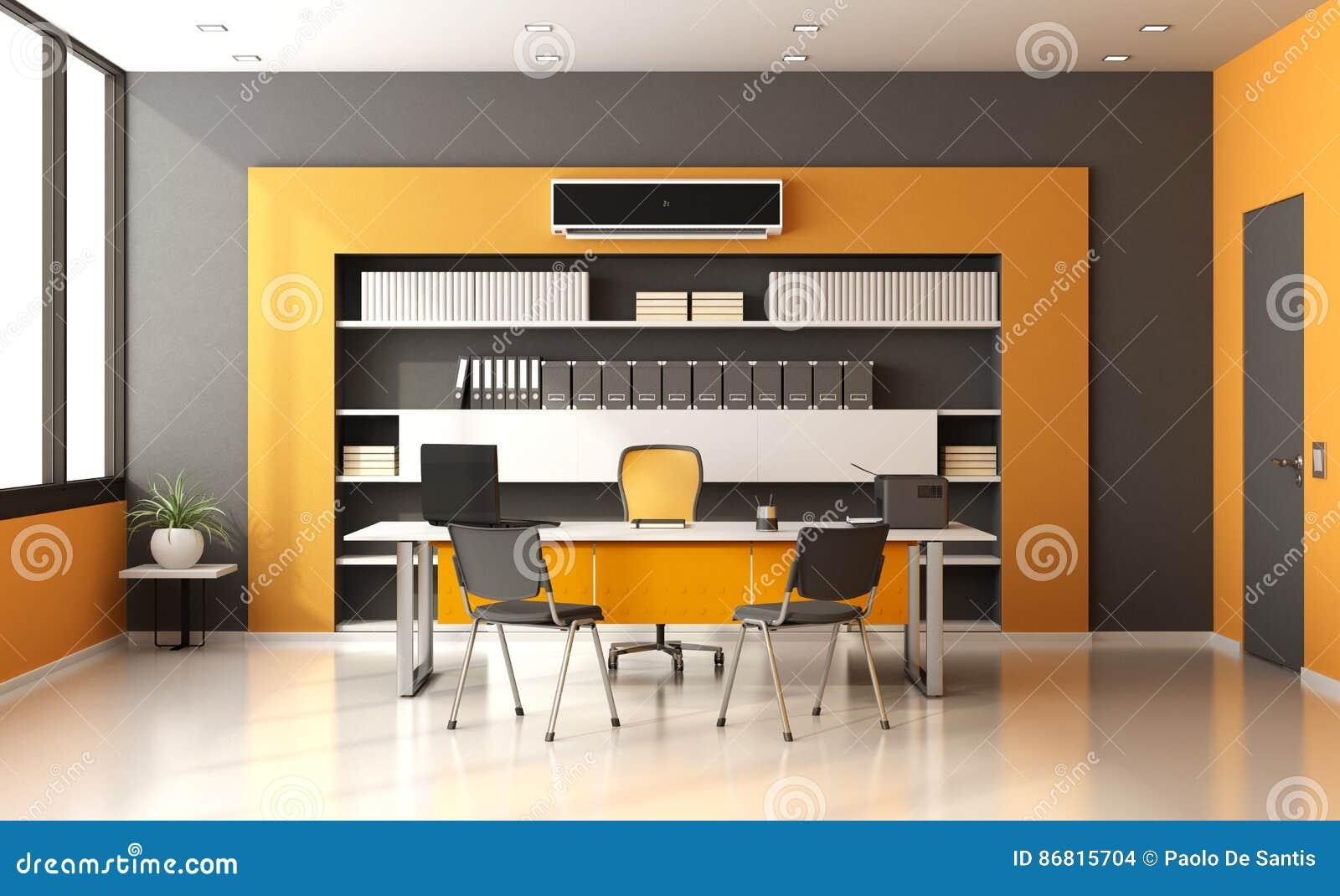 Bureau moderne orange et gris illustration stock illustration du