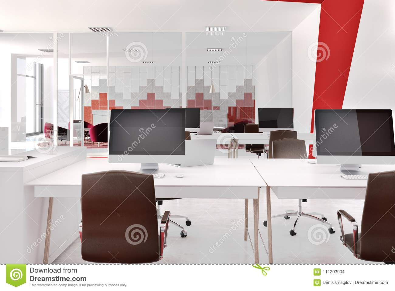 Bureau moderne rouge et blanc avant illustration stock
