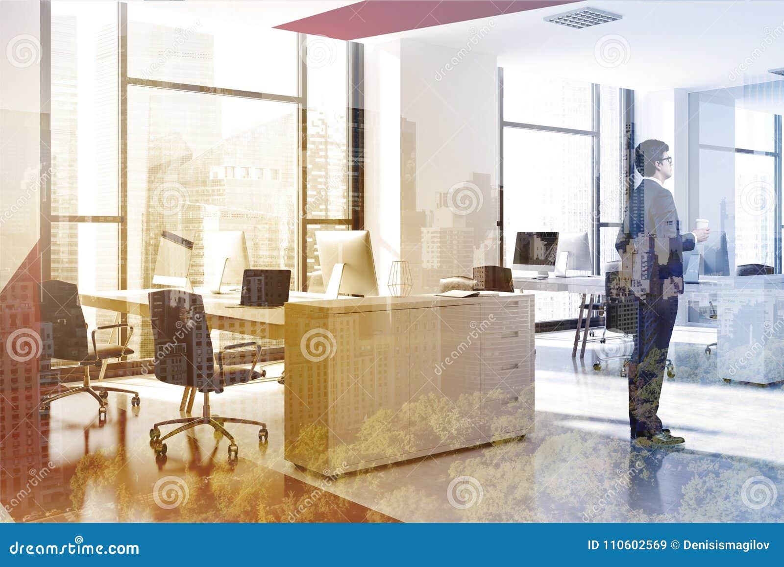Bureau moderne rouge et blanc homme d affaires de vue de côté
