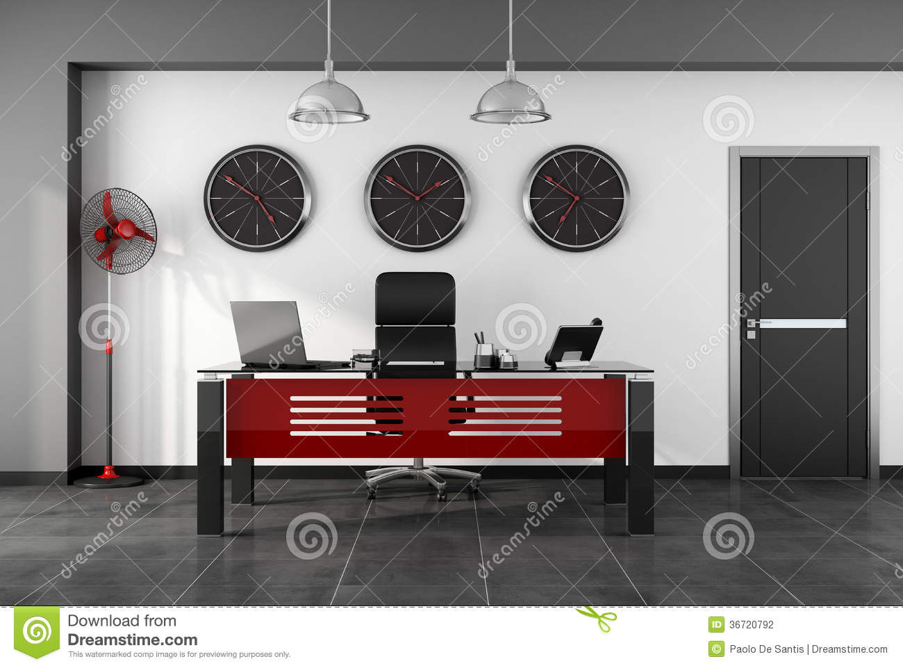 bureau moderne rouge et noir photographie stock image 36720792. Black Bedroom Furniture Sets. Home Design Ideas