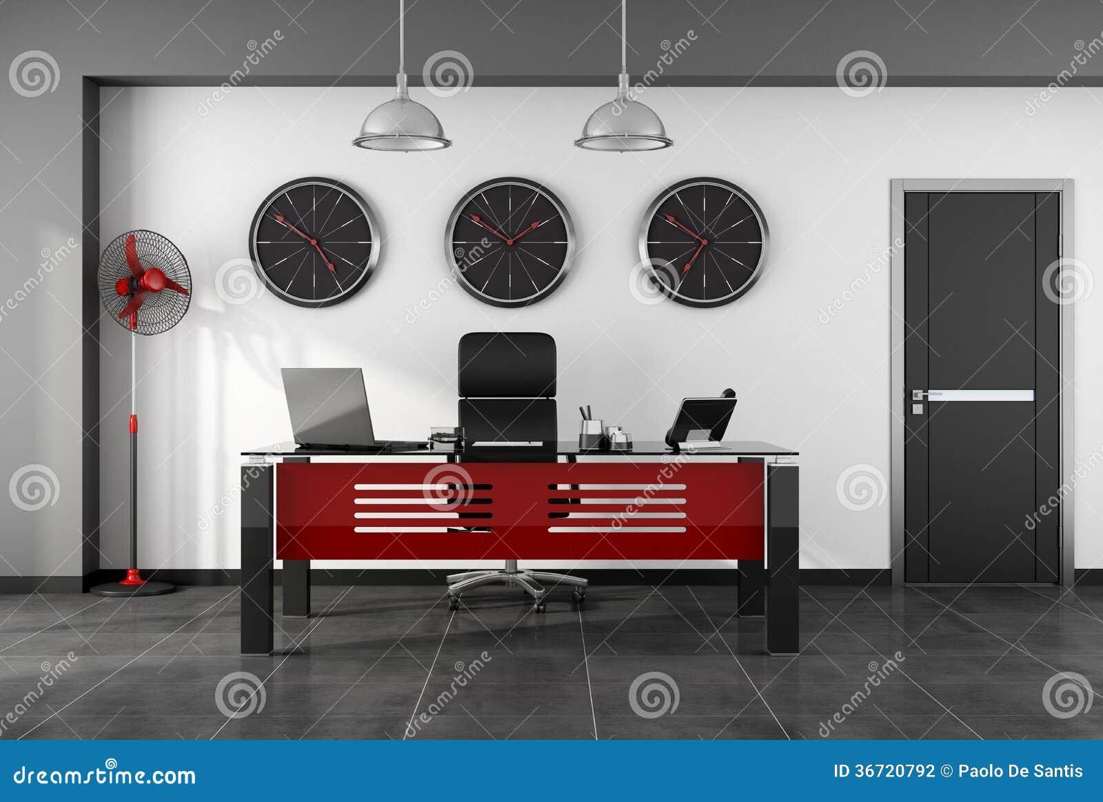 Bureau moderne rouge et noir photographie stock image for Bureau rouge et blanc