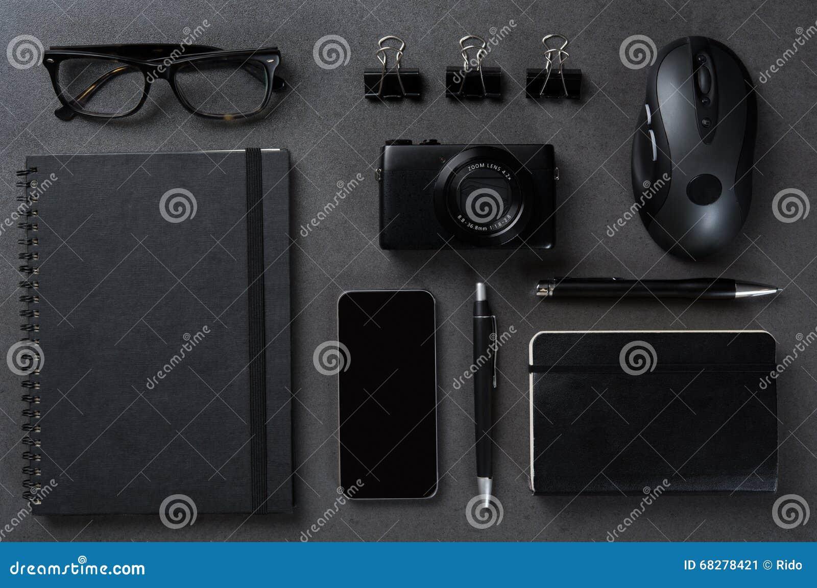 Bureau noir daffaires image stock. image du organisateur 68278421