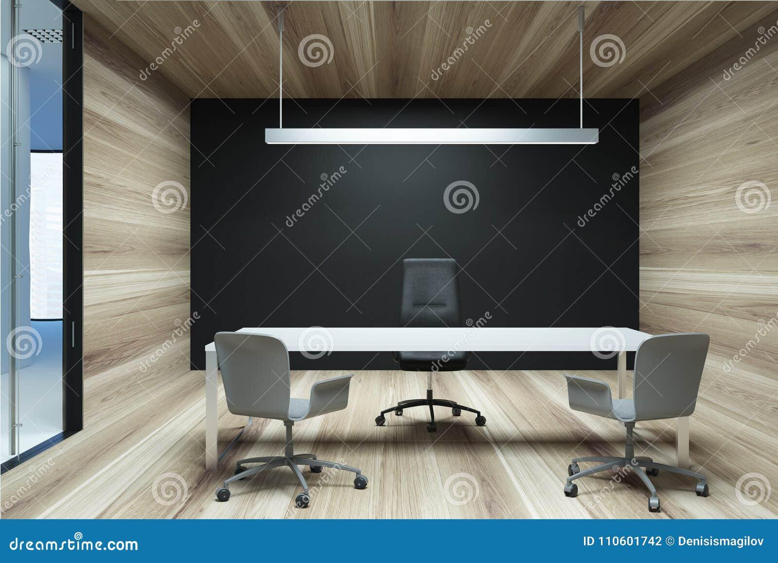 Bureau noir et en bois de patron de mur illustration stock