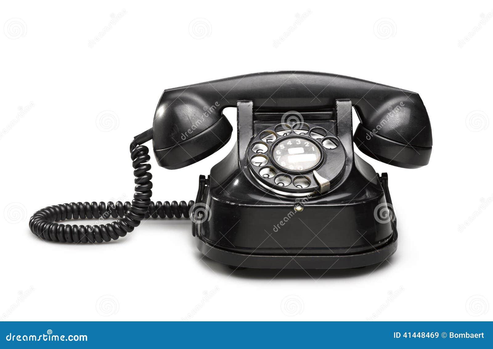Bureau noir vieux et de vintage de téléphone image stock image