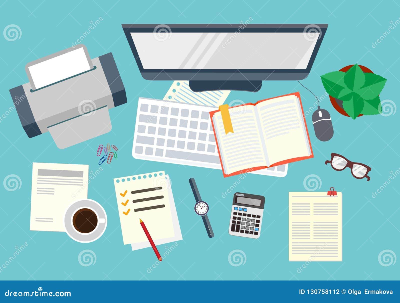 Bureau Organisation réaliste de lieu de travail La vue à partir du dessus Illustration courante de vecteur