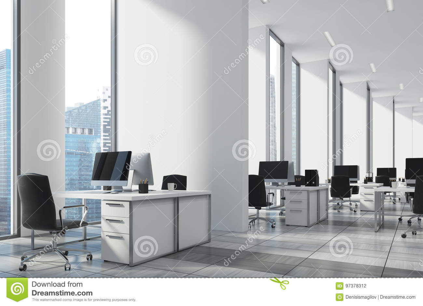 Bureau ouvert de blanc mur haut étroit de coin illustration