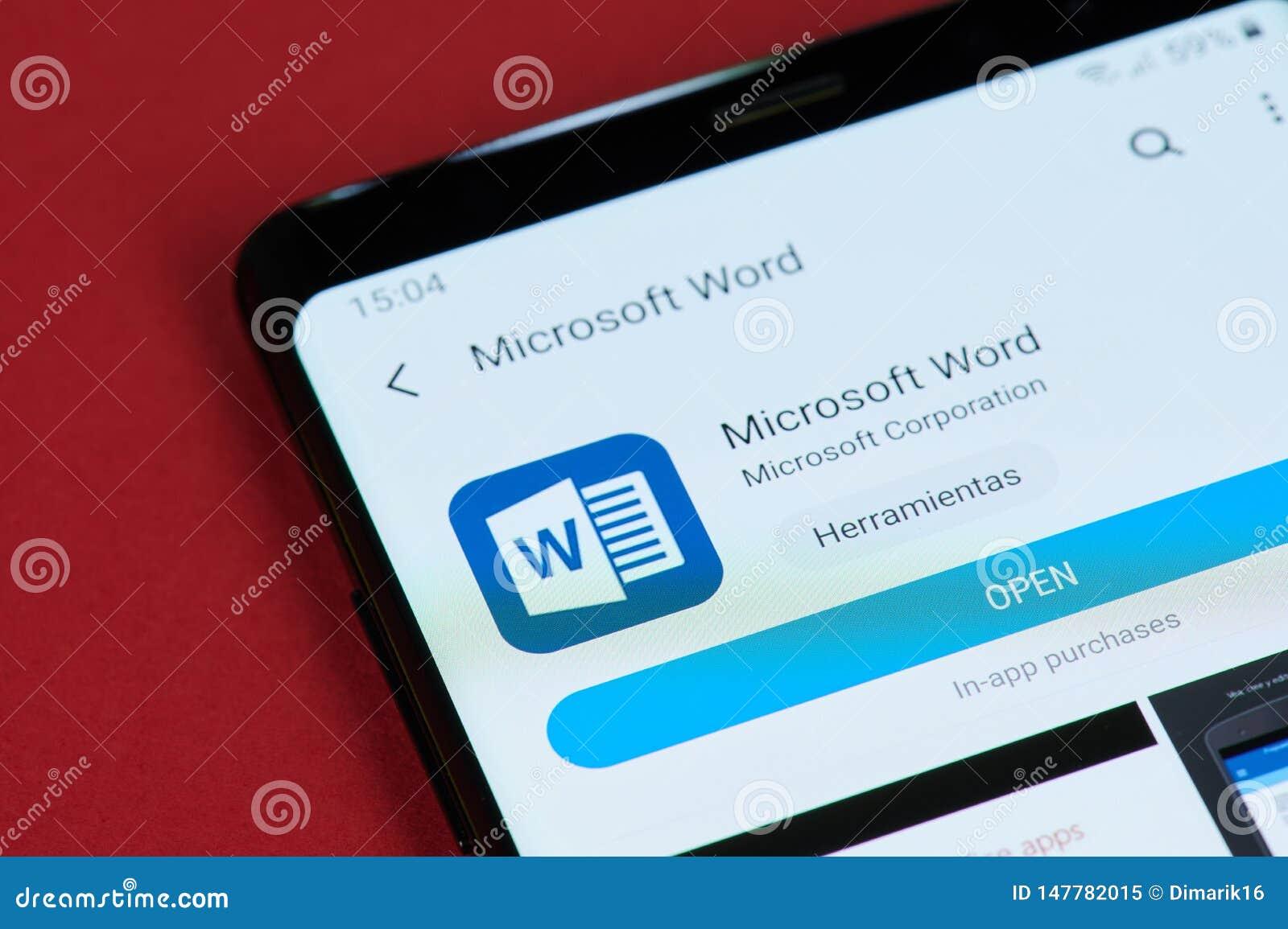 Bureau ouvert de Microsoft Word