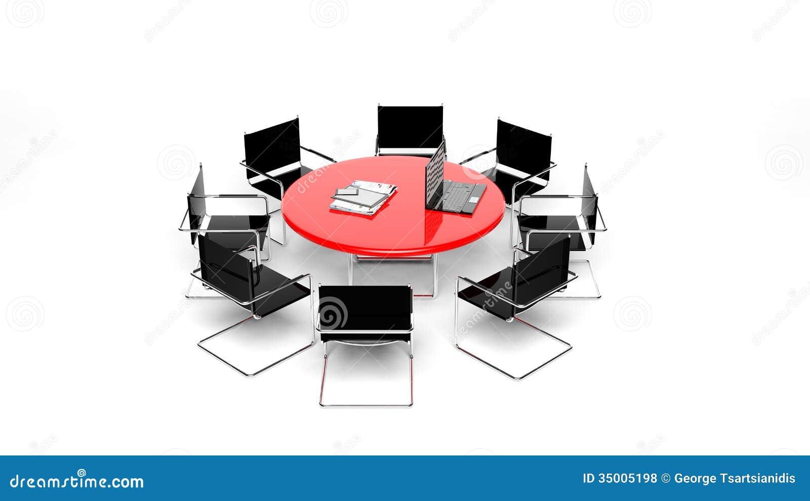 Bureau rood rond bureau stock foto afbeelding bestaande uit