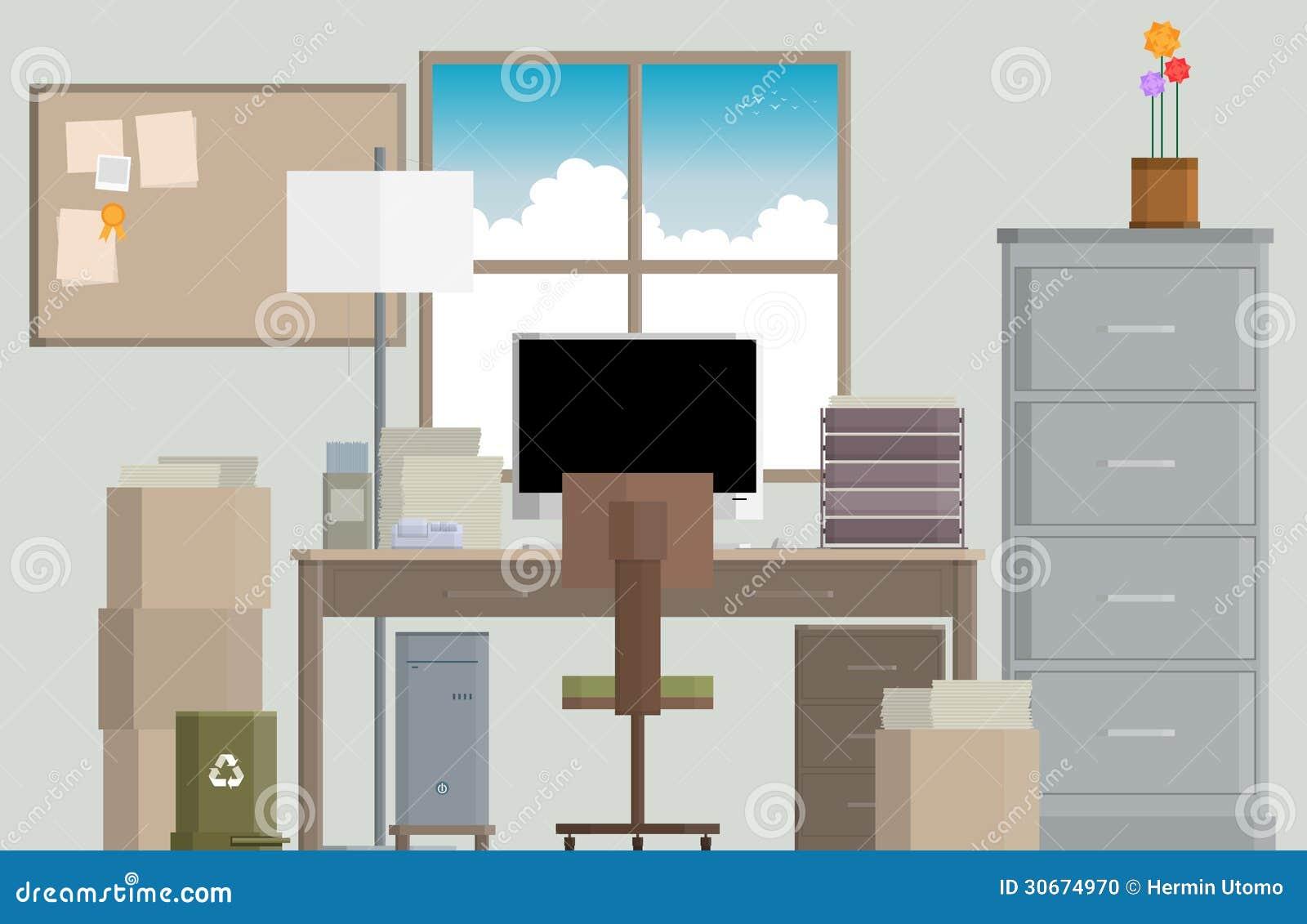 Bureau serré de travail