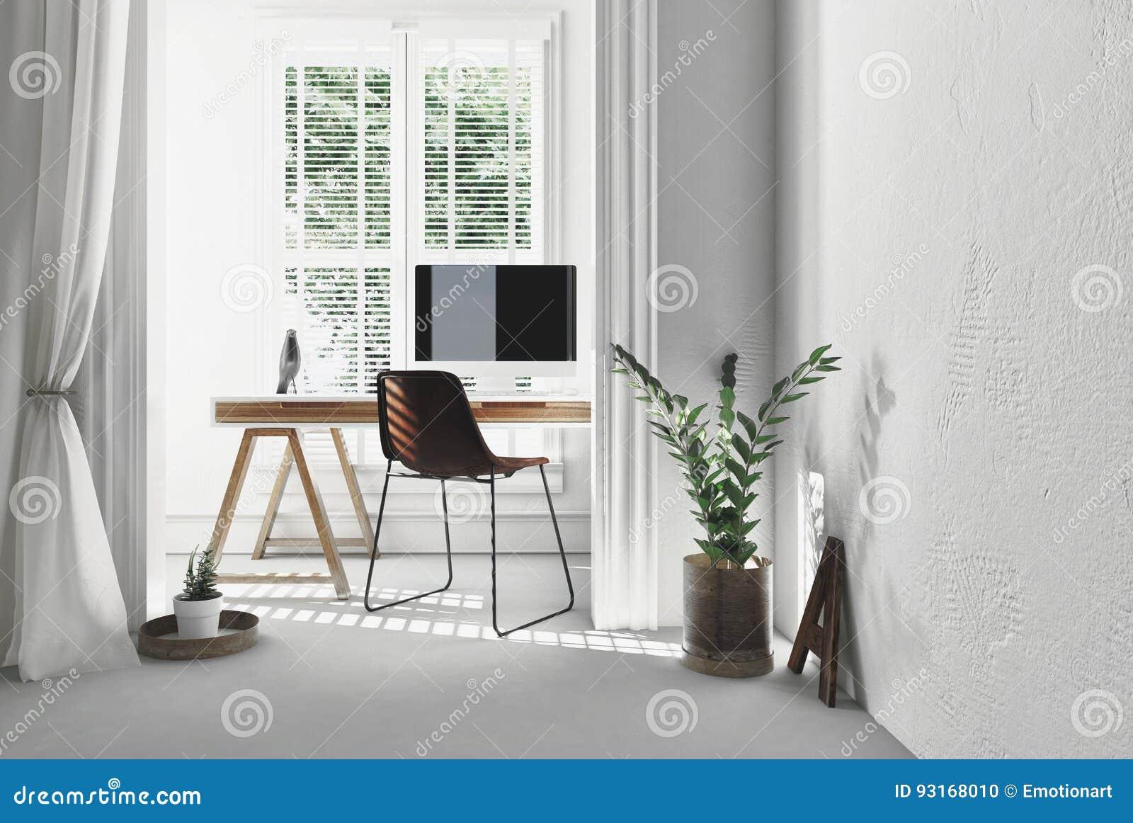 Bureau simple moderne avec le bureau de chevalet illustration stock