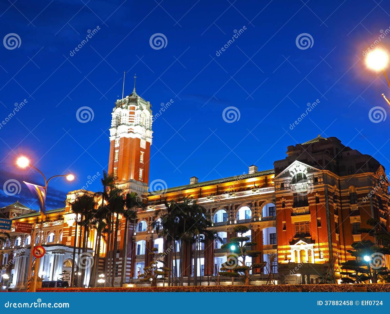 Bureau van de Voorzitter bij Nacht, de Stad van Taipeh, Taiwan