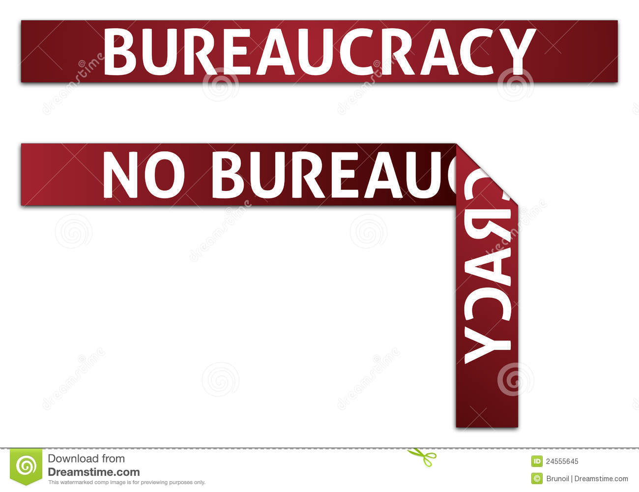 Bureaucracy and no bureaucracy red tape illustrations eps v 10