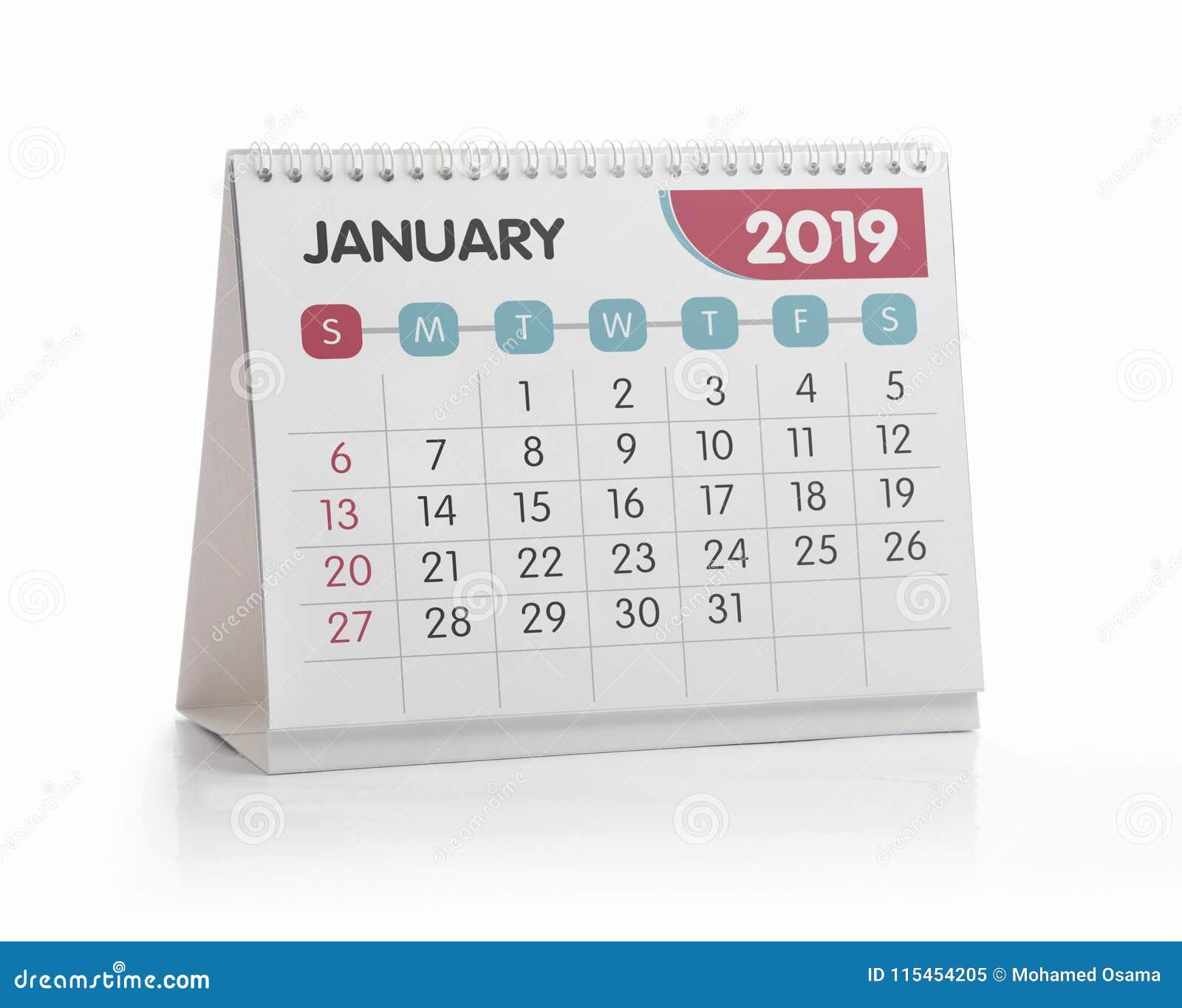 Bureaukalender januari 2019