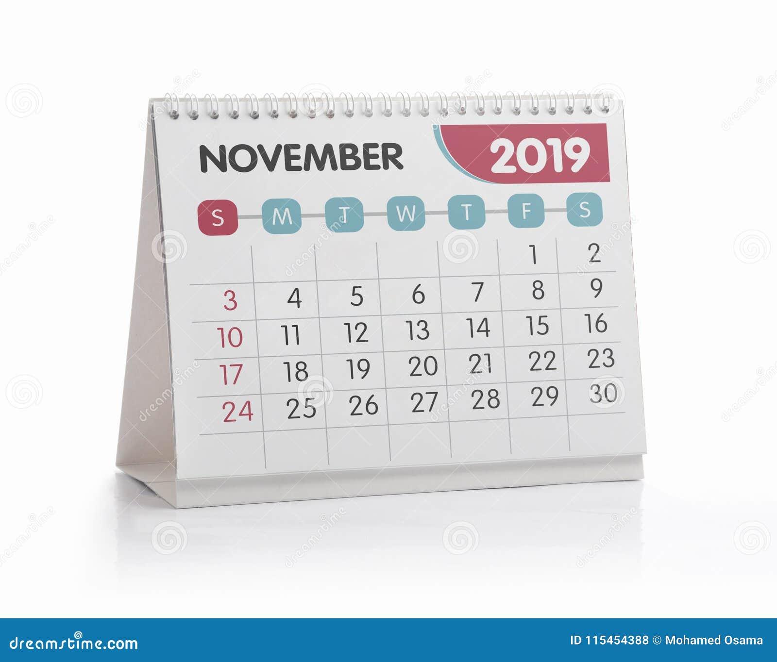 Bureaukalender 2019 November