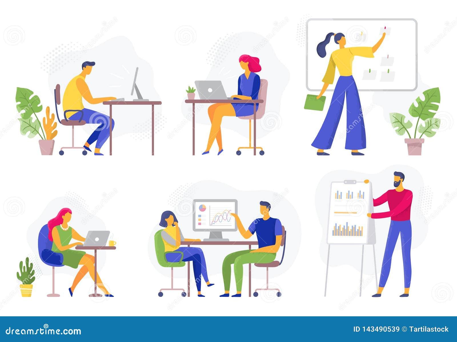 Bureauwerkschema Werkende bedrijfsmensen, ver groepswerk en reeks van de de samenwerkings de vlakke vectorillustratie van het arb