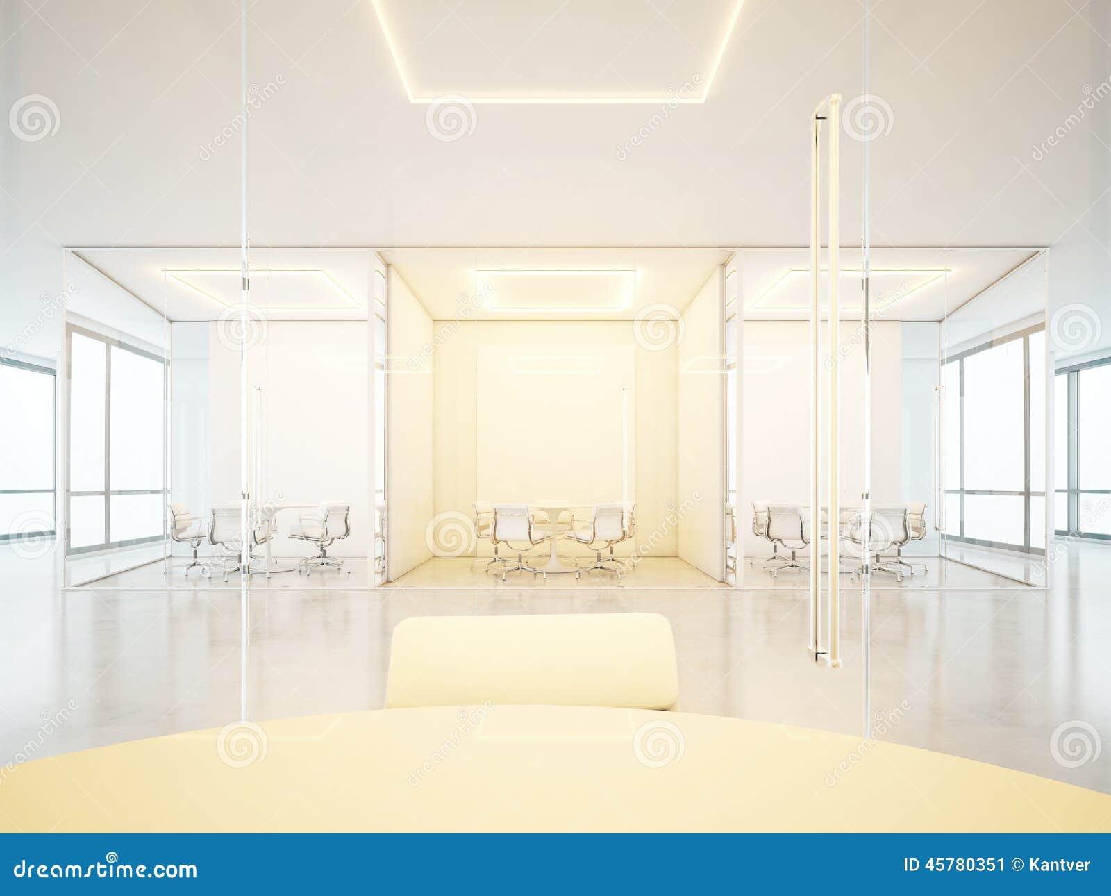 Bureaux blancs avec des lieux de réunion illustration stock