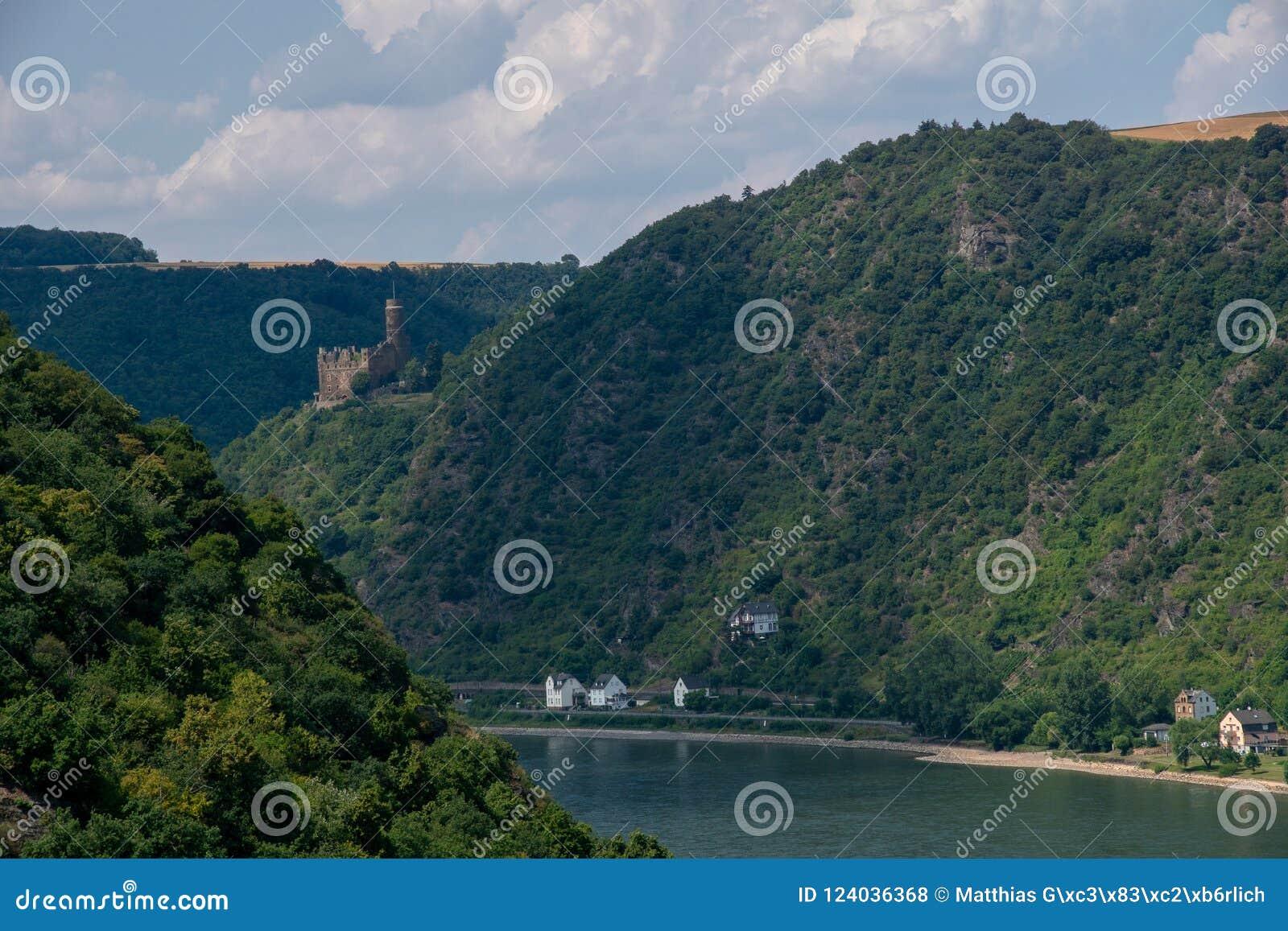 Burg Maus en Kaub-stad van over de Rijn, Duitsland
