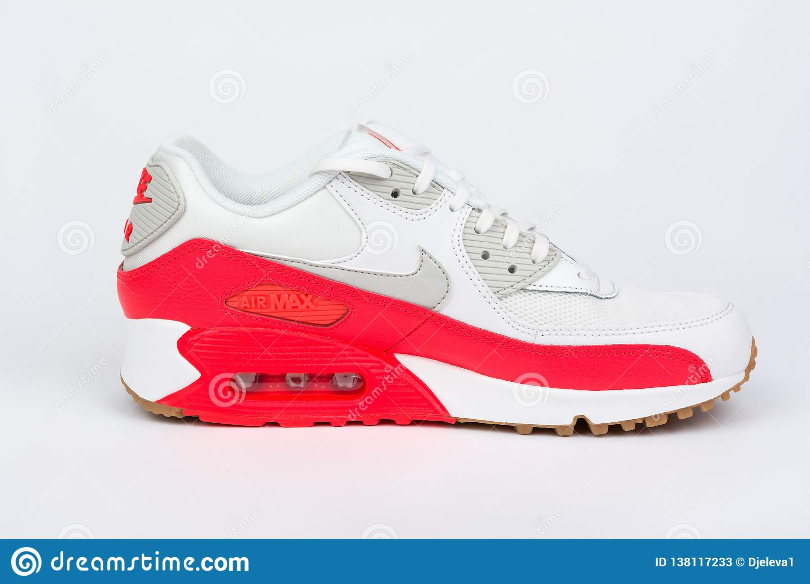 2f9042bd BURGAS, BULGARIA - AUGUST 30, 2016: Nike Air MAX women`s shoes - sneakers -  trainers in white and orange on white background. Editorial Stock Photo