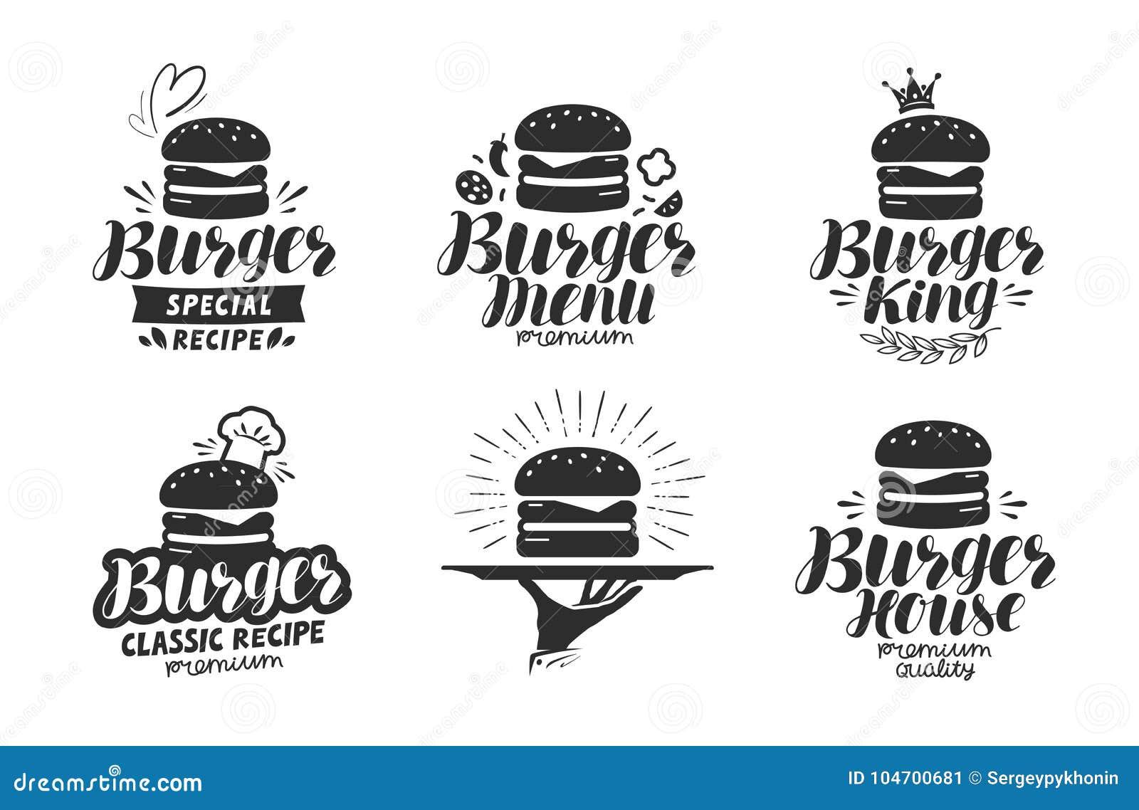 Burger, λογότυπο γρήγορου φαγητού ή εικονίδιο, έμβλημα Ετικέτα για το εστιατόριο ή τον καφέ σχεδίου επιλογών Γράφοντας διανυσματι