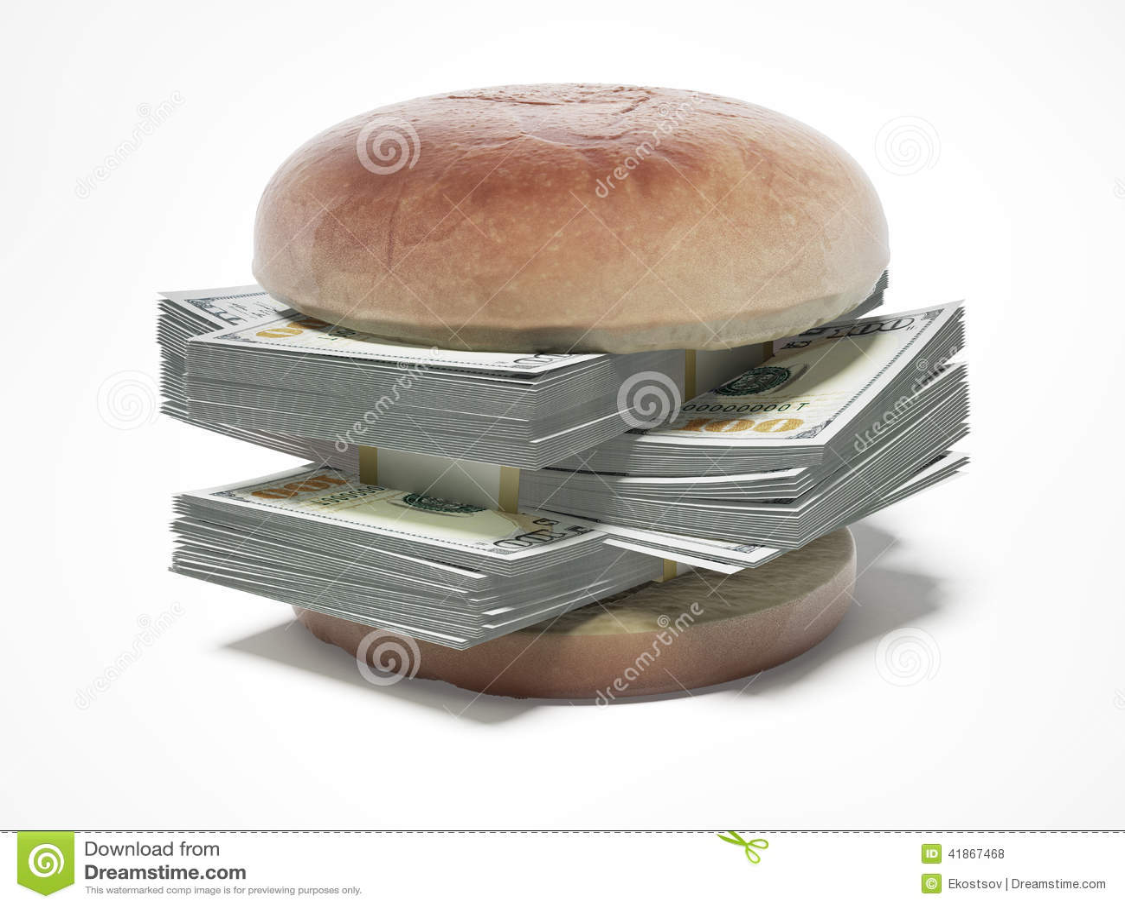 Burger με τους λογαριασμούς δολαρίων